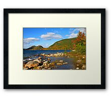 'Jordan Pond and the Bubbles, Fall Color' Framed Print