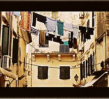 Washing lines Of Corfu Town by fruitcake