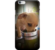 Puppy drinking coffee iPhone Case/Skin