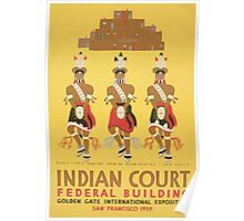 WPA United States Government Work Project Administration Poster 1037 Pueblo Turtle Dances New Mexico Indian Court Federal Building Poster