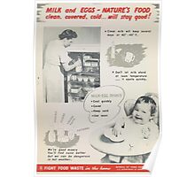 United States Department of Agriculture Poster 0290 Milk and Eggs Natures Food Clean Covered Cold Will Stay Good Poster