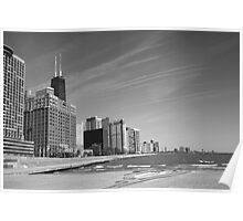 Chicago Skyline and Beach Poster