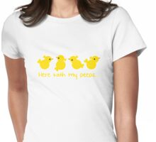 Here with my PEEPS with yellow chicks Womens Fitted T-Shirt