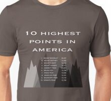 10 Highest Points in America Unisex T-Shirt