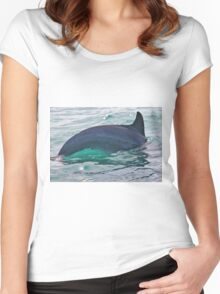 Green Water Dolphin Women's Fitted Scoop T-Shirt