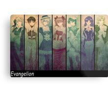 neon genesis evangelion rei ayanami asuka soryu anime manga shirt Metal Print