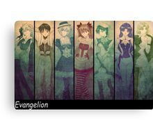 neon genesis evangelion rei ayanami asuka soryu anime manga shirt Canvas Print