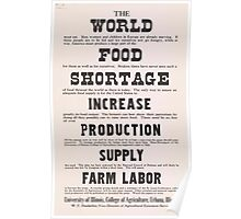 United States Department of Agriculture Poster 0210 World Food Shortage Increase Production Supply Farm Labor Poster