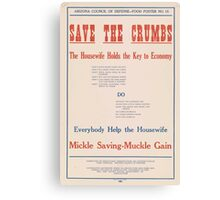 United States Department of Agriculture Poster 0053 Save The Crumbs Husewife Holds Key Economy Canvas Print