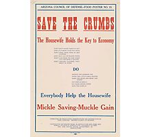 United States Department of Agriculture Poster 0053 Save The Crumbs Husewife Holds Key Economy Photographic Print