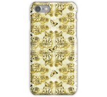Succulent Motif and Butterfly #  Yellow Ochre iPhone Case/Skin