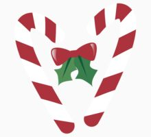 Candy canes candy for Christmas with a bow One Piece - Short Sleeve