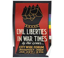 WPA United States Government Work Project Administration Poster 0140 Civil Liberties in War Times Max Lerner Poster