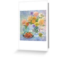 Still life with apricots and roses Greeting Card