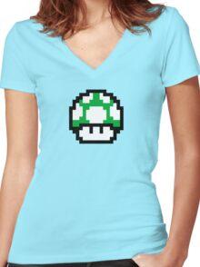 1 Up Mushroom Women's Fitted V-Neck T-Shirt