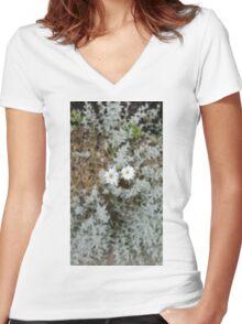 White Flower Morning Women's Fitted V-Neck T-Shirt