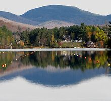 Reflections on Mirror Lake by hummingbirds