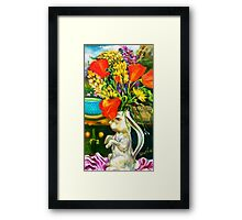 Rabbit and Poppies, Big Sur Kitchen Framed Print