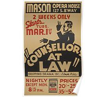 WPA United States Government Work Project Administration Poster 0923 Mason Opera House Counselor At Law Elmer Rice Poster