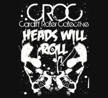white croc tshirt for the cardiff roller collective by damdirtyapeuk