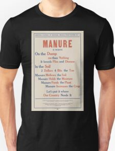 United States Department of Agriculture Poster 0080 Manure Dump Less than Nothing Breeds Flies Disease Unisex T-Shirt
