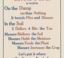 United States Department of Agriculture Poster 0080 Manure Dump Less than Nothing Breeds Flies Disease by wetdryvac
