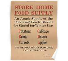 United States Department of Agriculture Poster 0277 Store Home Food Supply Potatoes Cabbage Beans Onions Carrots Apples Economic and Nutritious Poster