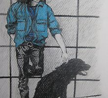 Jim Morrison with dog by Greg Buchanon