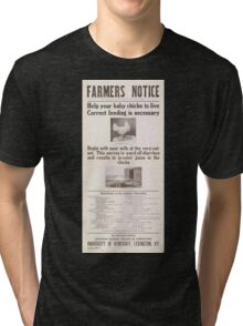 United States Department of Agriculture Poster 0077 Correct Feeding Baby Chicks Tri-blend T-Shirt