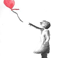 Banksy Girl With Balloon Watercolor by Kate Hanning