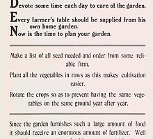 United States Department of Agriculture Poster 0076 Garden Vegetables Seeds Soil Care Table Plant by wetdryvac