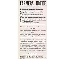 United States Department of Agriculture Poster 0076 Garden Vegetables Seeds Soil Care Table Plant Photographic Print