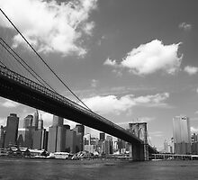 Brooklyn Bridge - New York City Skyline by Frank Romeo