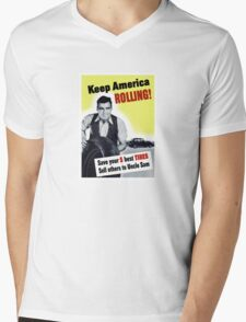 Keep America Rolling -- WWII Mens V-Neck T-Shirt