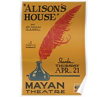 WPA United States Government Work Project Administration Poster 0790 Alison's House Susan Glaspell Mayan Theatre Poster
