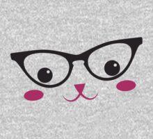CUTE KAWAII kitty with glasses Baby Tee