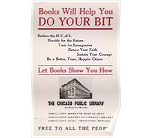 United States Department of Agriculture Poster 0209 Books Will Help You Do Your Bit Poster