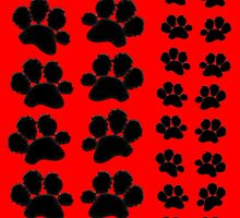 Paw Prints Pattern on Red by amanda metalcat dodds