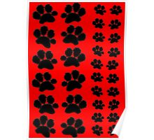Paw Prints Pattern on Red Poster