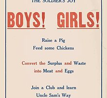 United States Department of Agriculture Poster 0054 Ham and The Soldier's Joy Boys Girls Waste Surplus Meat Eggs by wetdryvac