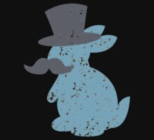 cute blue bunny with top hat and mustache Baby Tee