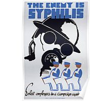 WPA United States Government Work Project Administration Poster 0138 The Enemy is Syphilis Enlist Employees Campaign Against Poster