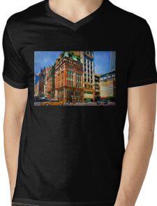 Manhattan Street Scene Mens V-Neck T-Shirt