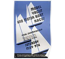 WPA United States Government Work Project Administration Poster 0225 Model Yacht and Motor Boat Races Central Park Poster