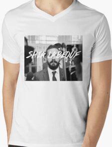 Shia Labeouf Black and White Mens V-Neck T-Shirt