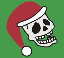 ha ha ha smiling skull SANTA for Christmas Baby Tee