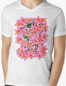 Pink Frangipani Flowers Mens V-Neck T-Shirt