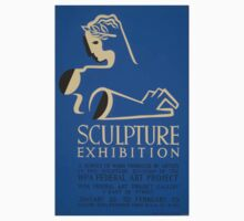 WPA United States Government Work Project Administration Poster 0648 Sculpture Exhibition One Piece - Short Sleeve