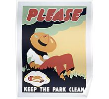 WPA United States Government Work Project Administration Poster 0298 Please Keep the Park Clean Poster
