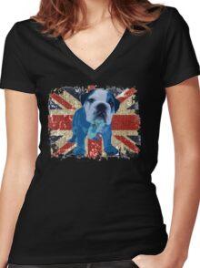 Jack the Bulldog Women's Fitted V-Neck T-Shirt